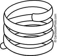 Short spring coil icon, outline style - Short spring coil...