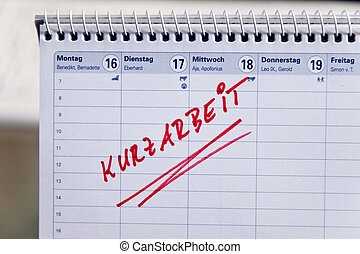 Short-time entry in an appointment calendar - Date...