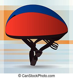 short-track skating helmet, red and blue, on a gradient...