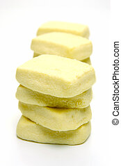 Butter shortbread biscuits isolated against a white background