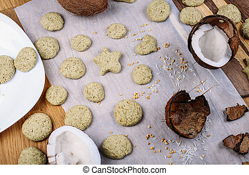 Shortbread biscuits with the tea green tea match