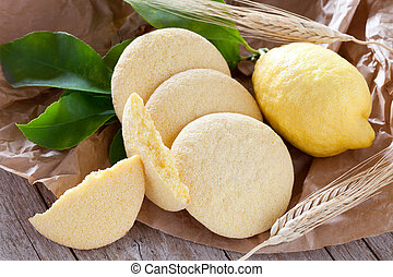Bakery products: shortbread cookies with lemon flavor.
