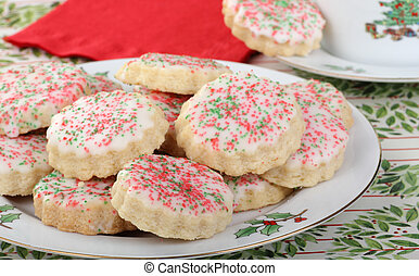 Shortbread Cookies - Plate of shortbread cookies withicing ...