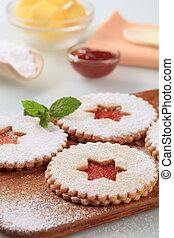 Shortbread cookies with jam filling - detail