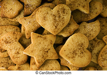 shortbread cookies with sugar and cinnamon background