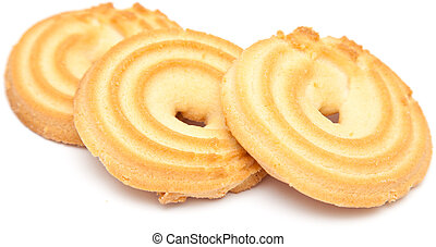 shortbread ring biscuit isolated on white