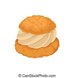 Shortbread with cream on a white background. Vector illustration.