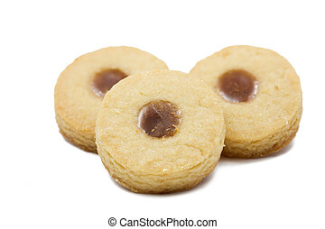 Shortbread with Earl Grey jelly filling, shallow depth of field (DOF)