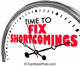 shortcomings, klok, vaststellen, illustratie, woorden, tijd, 3d