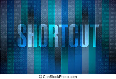 Shortcut binary sign concept illustration