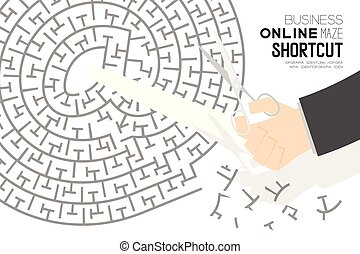 Shortcut Business online Maze or labyrinth At sign shape with businessman and scissors, design illustration isolated on white background, with copy space
