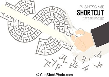 Shortcut Business online Maze or labyrinth USD (United States Dollars) sign shape with businessman and scissors, design illustration isolated on white background, with copy space
