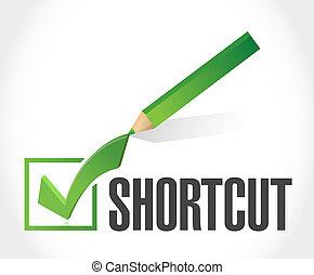 Shortcut check mark sign concept