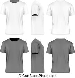 shortinho, homens, manga, t-shirt.