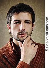 shortinho, na moda, jovem, posar, elegante, homem, barba