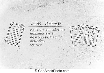 shortlist, oferta, grau, logo, trabalho, elementos, cv