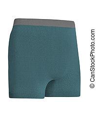 shorts bleu, isolé, courant, fond, blanc