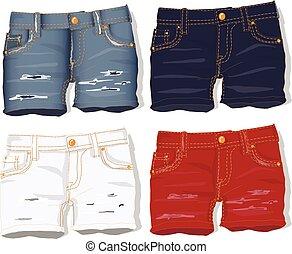 shorts., calças brim, vector.