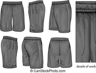 shorts., desporto, pretas, homens
