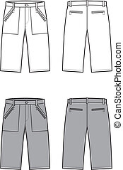 Shorts - Vector illustration of sport shorts. Front and back...