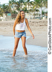 shorts., femme, jean, jeune