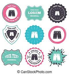 shorts, homens, símbolo., sinal, bermudas, icon., roupa