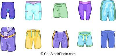 Shorts icon set, cartoon style