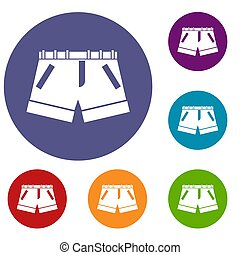 Shorts icons set in flat circle reb, blue and green color...