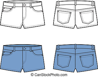 Vector illustration of jeans shorts. Front and back views