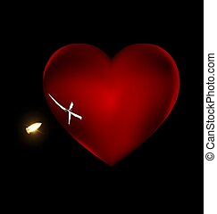 shot and large heart - black background and the large red...