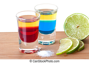 Shot cocktail collection: Red and Blue Tequila