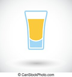 Shot drink. Single flat icon on white background. Vector...