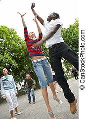 shot - Friends playing streetball