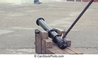 Shot from a cannon - Shot of a medieval cannon