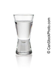 vodka - shot glass filled with vodka on a white background