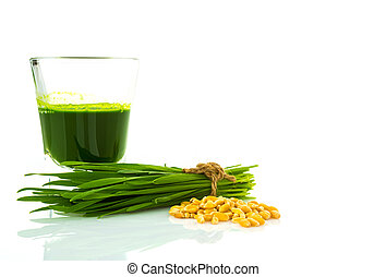 Shot glass of wheat grass with fresh cut wheat grass and ...