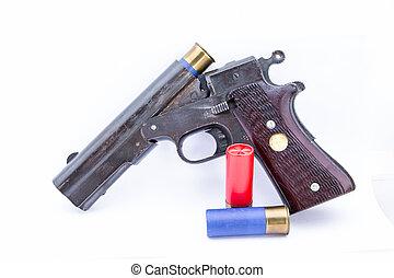 Shot gun on white background