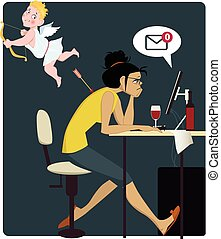 Sad woman looking at a computer screen, showing no new messages, Cupid shot her in a back with an arrow, vector illustration, no transparencies