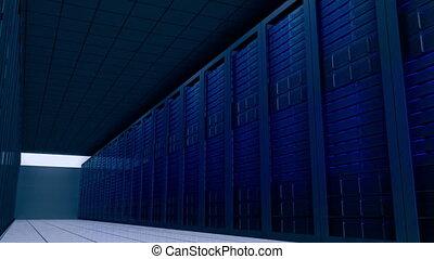 Shot moving through server room - Digital animation of Shot...