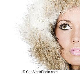 Shot of a Beautiful Teen in Fur Hood