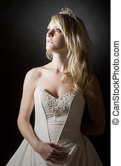 Shot of a Beautiful Teenage Bride with Long Blonde Hair