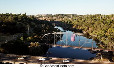 Shot of a bridge over the river.Drone.4K.California.USA