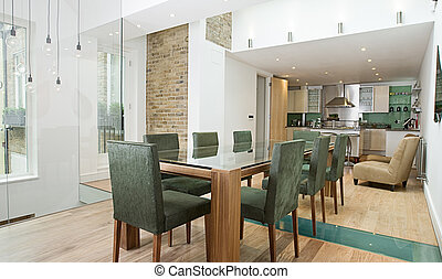 Luxury Interior of Dining Area with Open Plan Kitchen