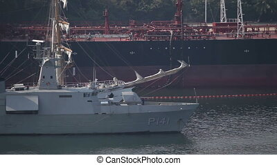 shot of a warship in the bay of acapulco, mexico