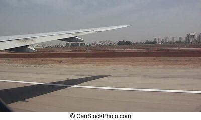Airplane during takeoff - Shot of Airplane during takeoff