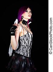 Alternative Girl in Angel Wings - Shot of an Alternative...