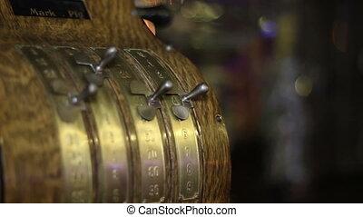 antique cash register - shot of antique cash register