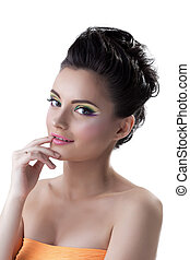 Shot of beautiful young woman with colorful makeup