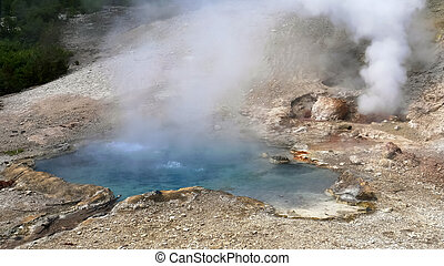 shot of beryl spring in yellowstone national park