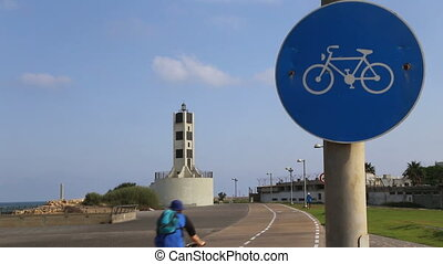 Bicycle and jogging routes in Tel Aviv - Shot of Bicycle and...